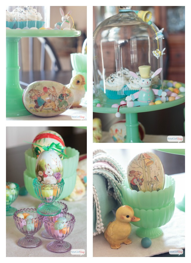 collage of vintage style jade glass Easter decorations