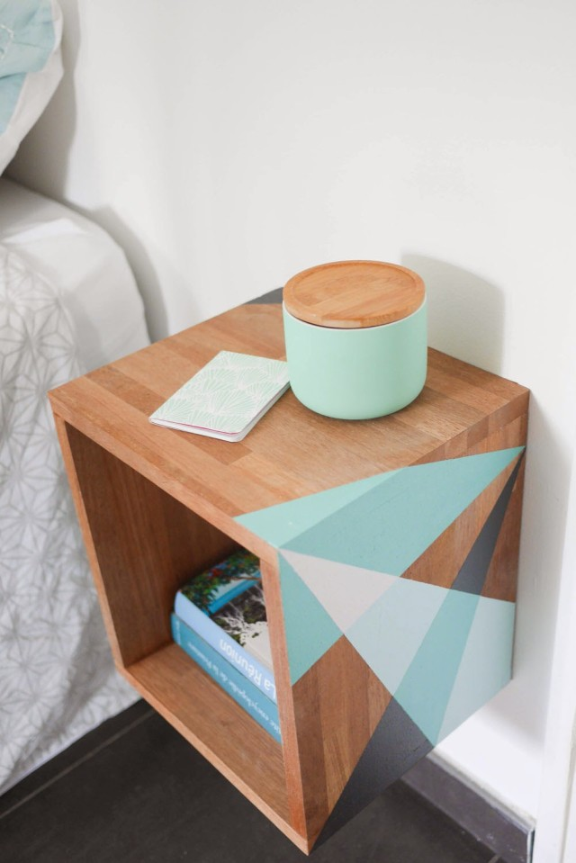 Decoart blog trends geometry lessons trends in home decor for Wall mounted nightstand diy