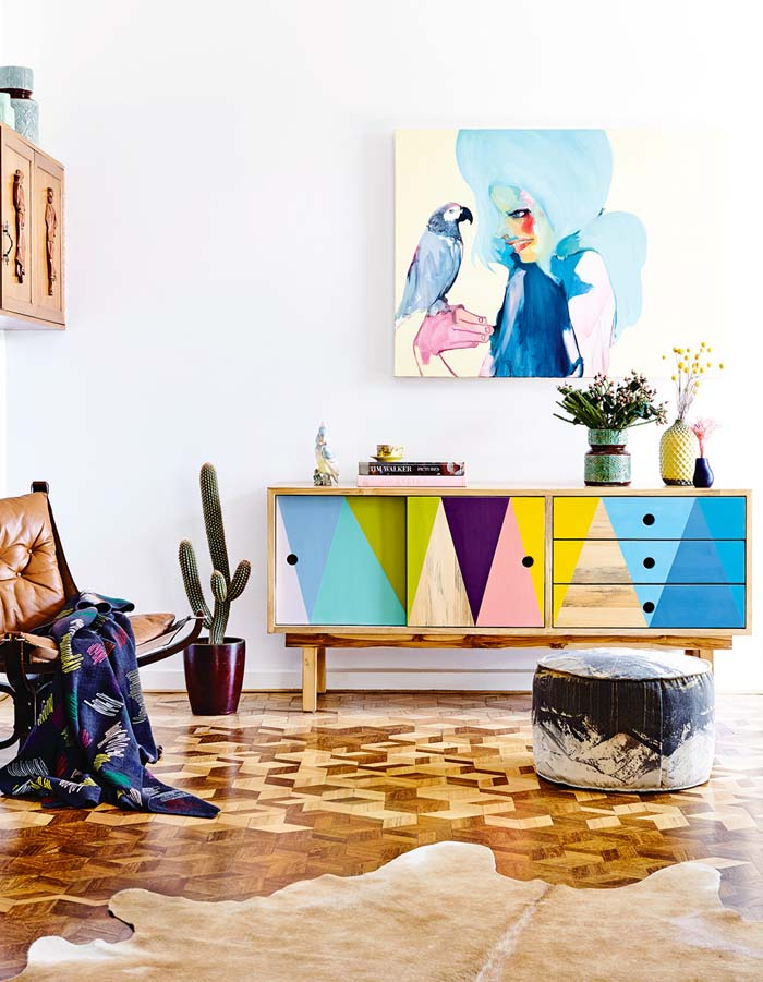 Geometric painted sideboard via Poppytalk from Inside Out Magazine