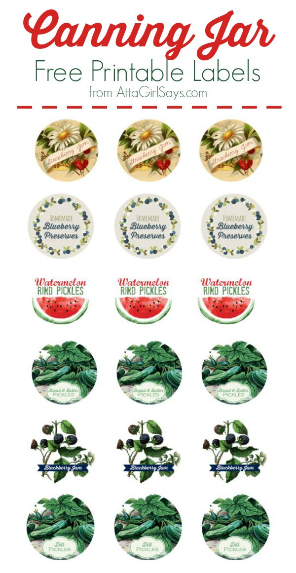 Download these vintage-inspired canning jar labels for free, plus find recipes for watermelon rind pickles, strawberry jam and bread-and-butter pickles.