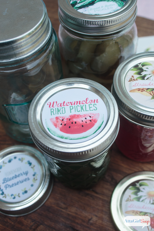 Download this vintage-inspired canning jar labels for free, plus find recipes for watermelon rind pickles, strawberry jam and bread-and-butter pickles.