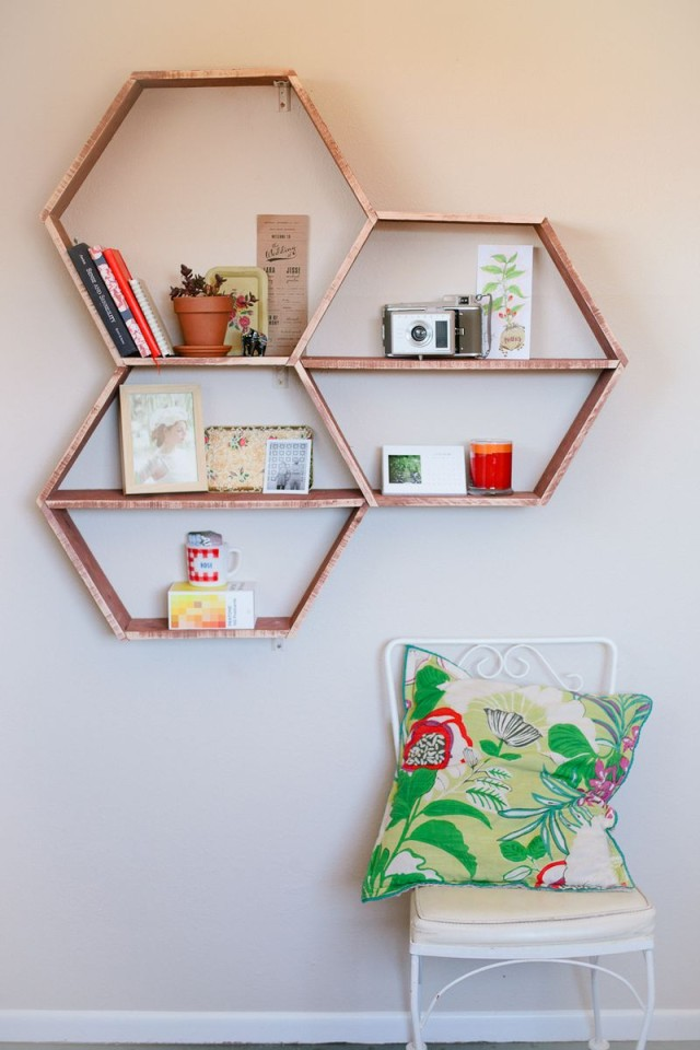 Honeycomb Shelves from A Beautiful Mess
