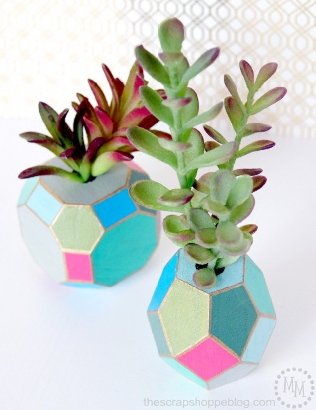 Faceted Succulent Vases from The Scrap Shoppe Blog