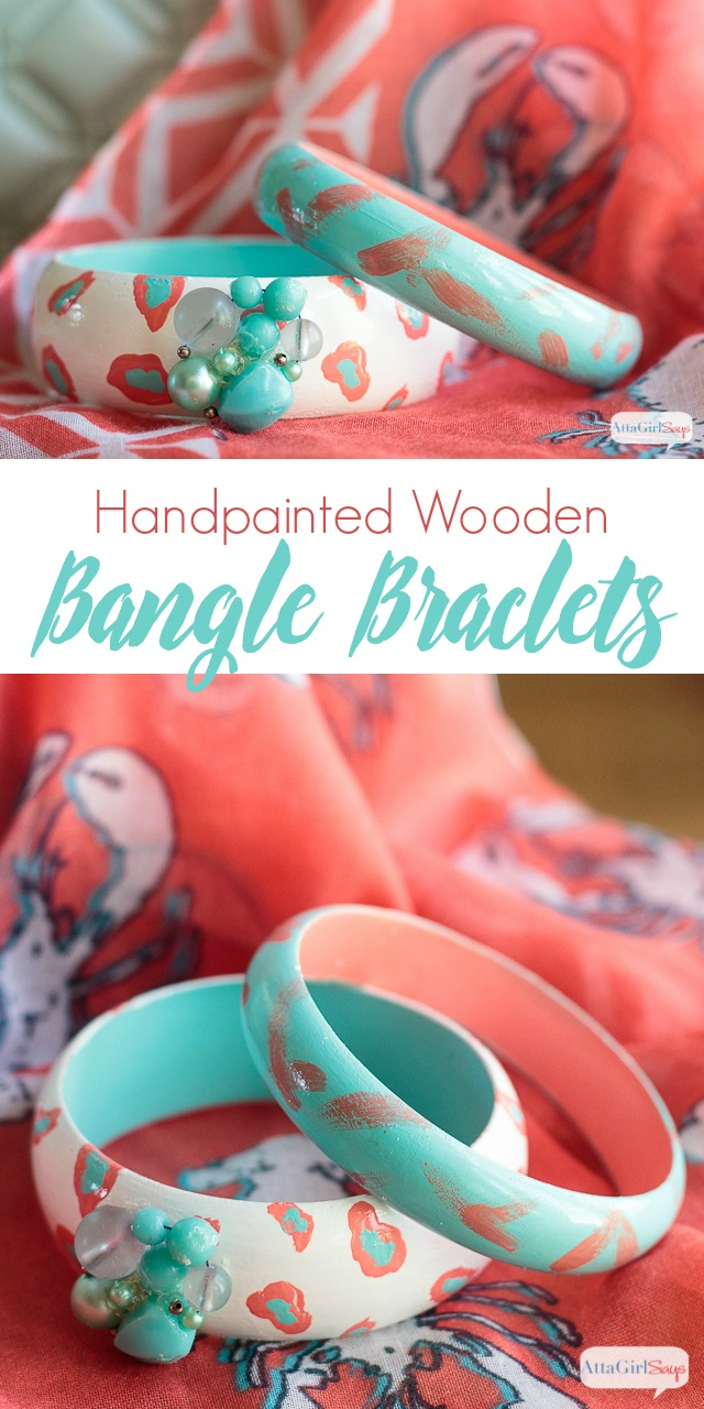 Make a style statement as unique as you are by painting wooden bangle bracelets with abstract designs. Love the bold colors and patterns of these -- animal print and brushstrokes. #decoartprojects #sponsored
