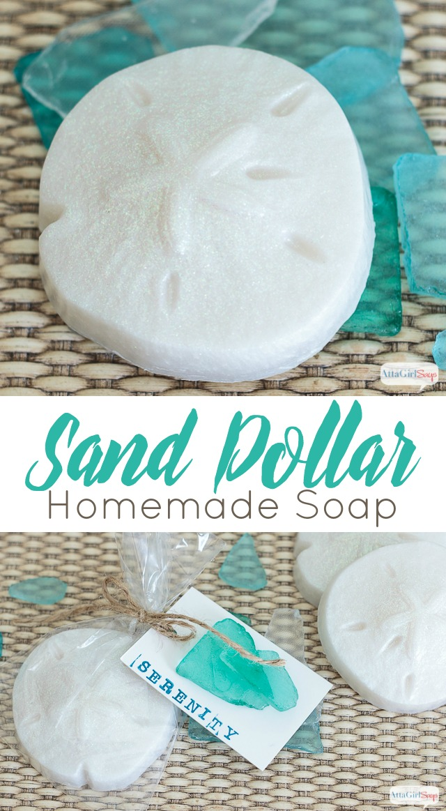 If you've always wanted to know how to make soap, start with these glitter-flecked and lusciously scented homemade soap sand dollars with a relaxing fragrance that will transport you to the beach #celebrationsofhome