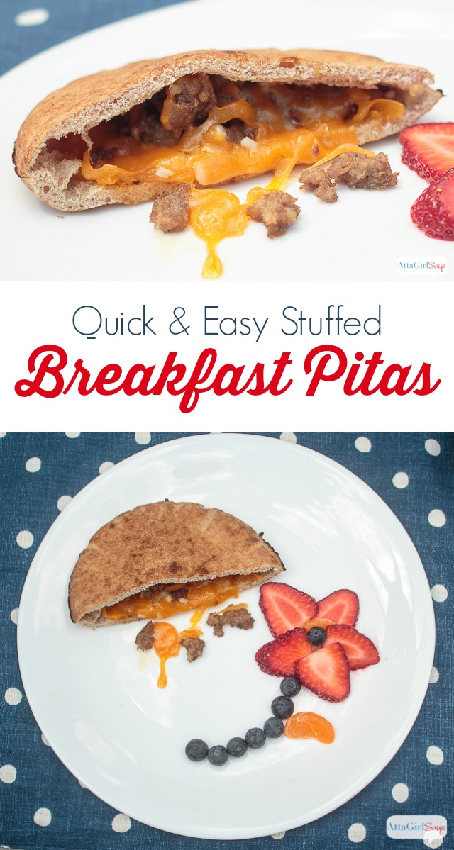 Looking for quick and easy breakfast ideas for kids? Try these stuffed pita breakfast sandwiches, filled with sausage, cheese and other toppings. Goes great with a glass of Nesquik. #ad #stirimagination