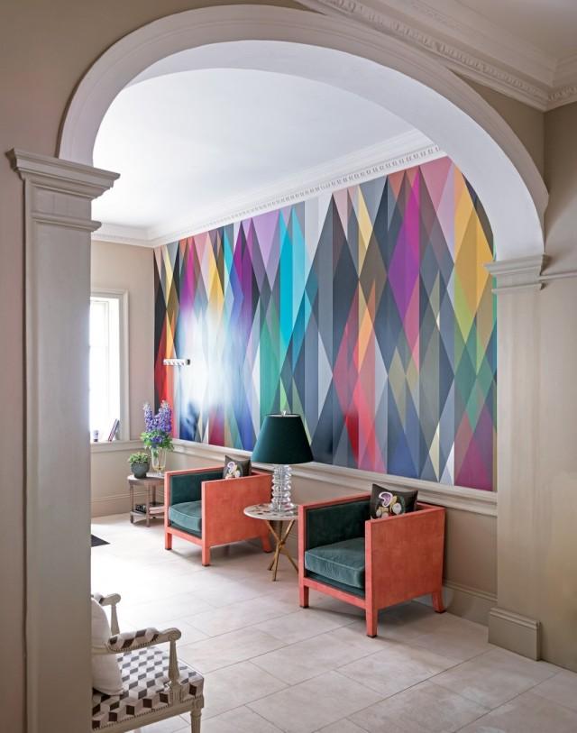 Jewel-toned geometic feature wall via The Room Edit (Photo credit Paul Raeside for Livingetc