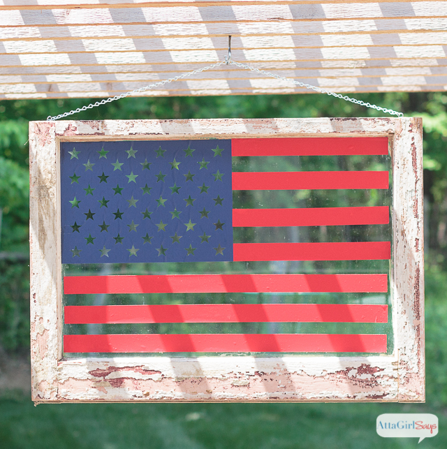 Learn how to make American flag art from an old window. This blog has so & American Flag Art from an Old Window - Atta Girl Says