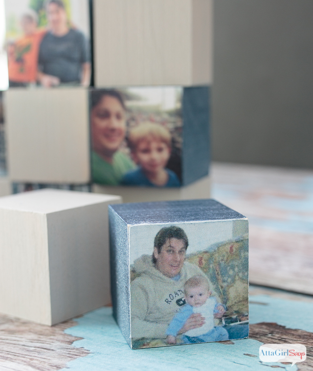 Looking for a DIY father's day gift that is easy, inexpensive and sentimental? Make dad a set of personalized wooden photo blocks for his desk. #sponsored #decoartprojects