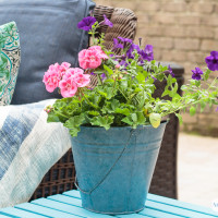 Galvanized Bucket Makeover with Color Stain