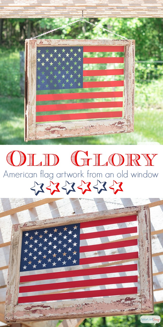 Transform an old window into patriotic American flag art using vinyl. Click for step-by-step instructions, plus the free cutting file, and dozens more patriotic craft and decorating ideas.