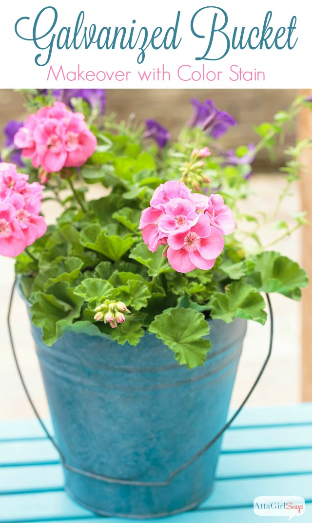 Think stain is just for wood? Think again! I'll show you how I used color stain to transform a galvanized bucket into a garden planter with gorgeous patina.