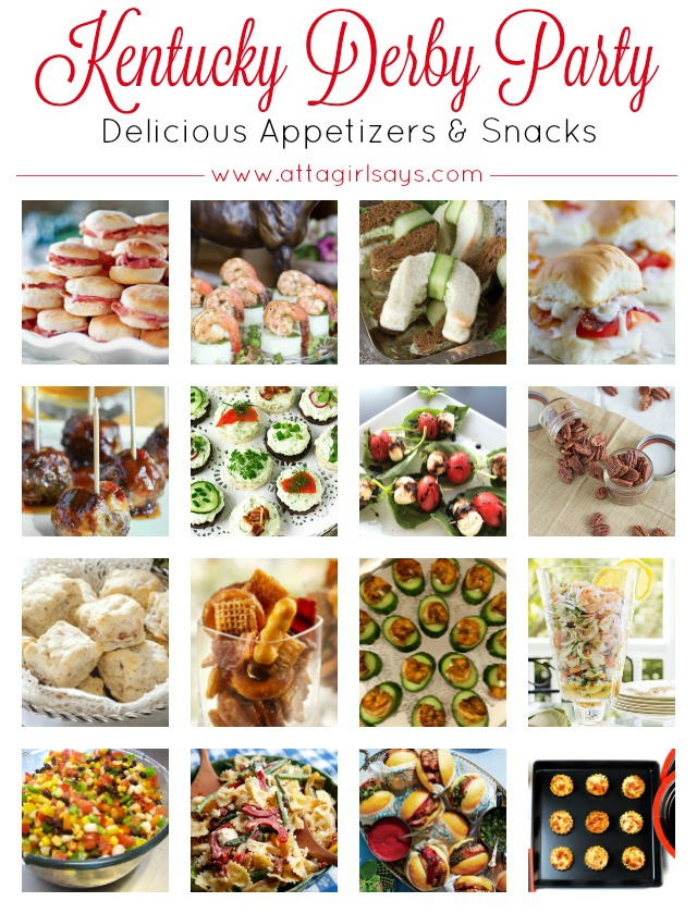Delicious appetizers, sweets and drinks to serve at your Kentucky Derby Party. Click for a collection of more than 50 Kentucky Derby party food & drink recipes. #kentuckyderby #partyfood #kentuckyderbyparty #derbydayparty #derbyday #partyideas