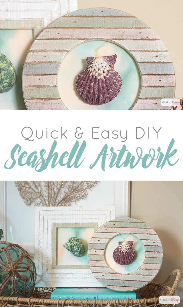 DIY Seashell artwork; framed shells in painted beach driftwood frames