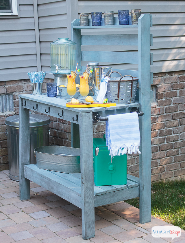 Inspired By A 2 000 Pottery Barn Hutch And Server We Built This Outdoor Buffet Table