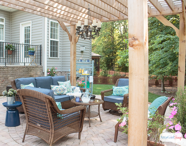 Patio decorating ideas our new outdoor room atta girl says for How to decorate a backyard