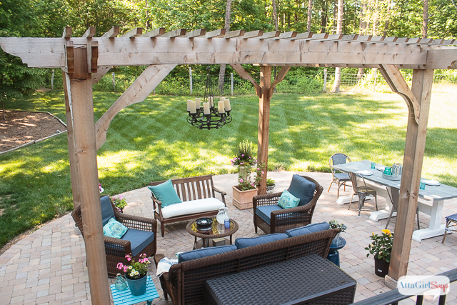 see how we transformed our boring back yard with the addition of a paver patio and - Patio Decorating Ideas