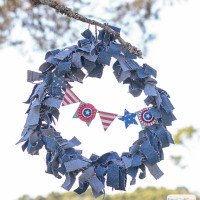 Patriotic Denim Rag Wreath