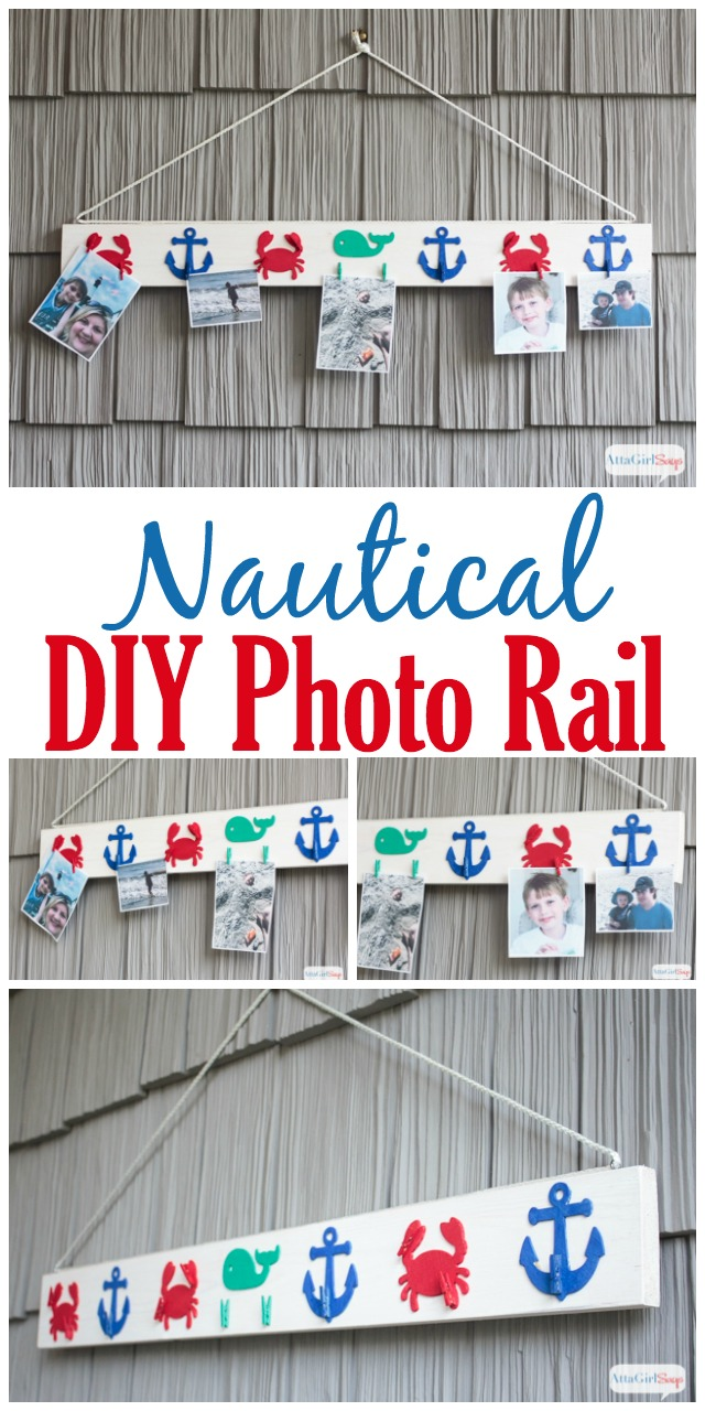 Use scrap wood, paint and inexpensive wooden cutouts from the craft store to create a DIY photo rail to display your favorite vacation pictures and family memories. #decoartprojects #sponsored