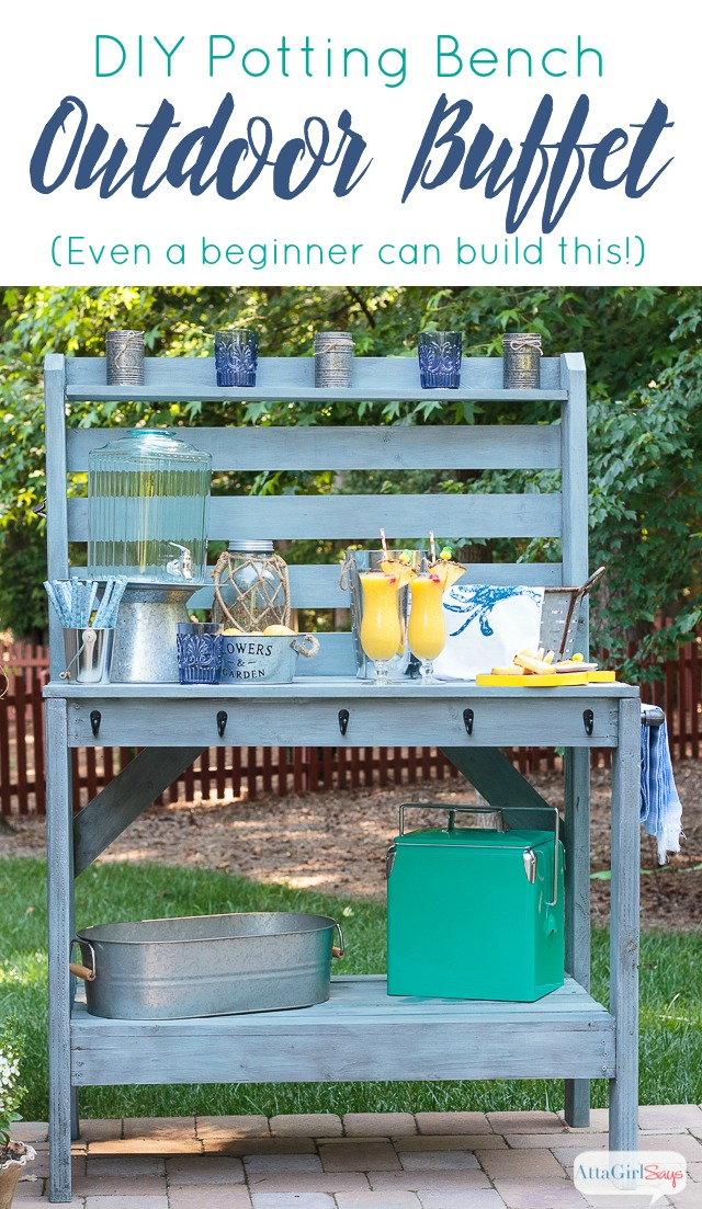 Inspired By A $2,000 Pottery Barn Hutch And Server, We Built This Outdoor Buffet  Table