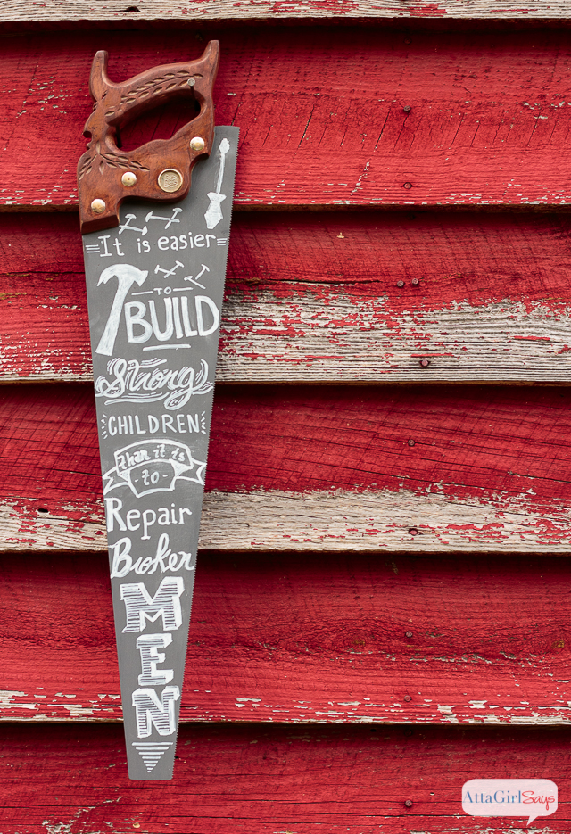Is your dad handy and hands on? Then he will absolutely love this DIY chalk art made from a vintage hand saw. The quote is from Frederick Douglass, and it's perfect for Father's Day. Click for step-by-step instructions for how to make your own.