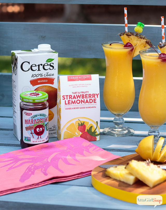ingredients to make rozen tropical lemonade