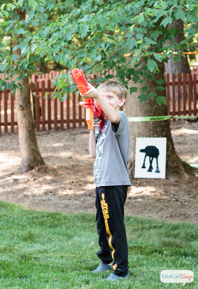 Star Wars fans will love this DIY NERF gun target shooting game. This inexpensive project will keep kids entertained as they battle their favorite villains from the Star Wars movies.