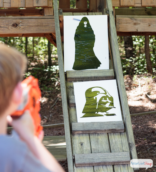 Star Wars fans will love this DIY NERF gun target shooting game. This  inexpensive project
