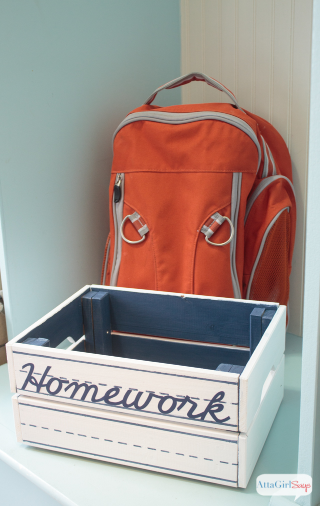 Organize homework and keep track of important school papers with this handpainted storage crate.