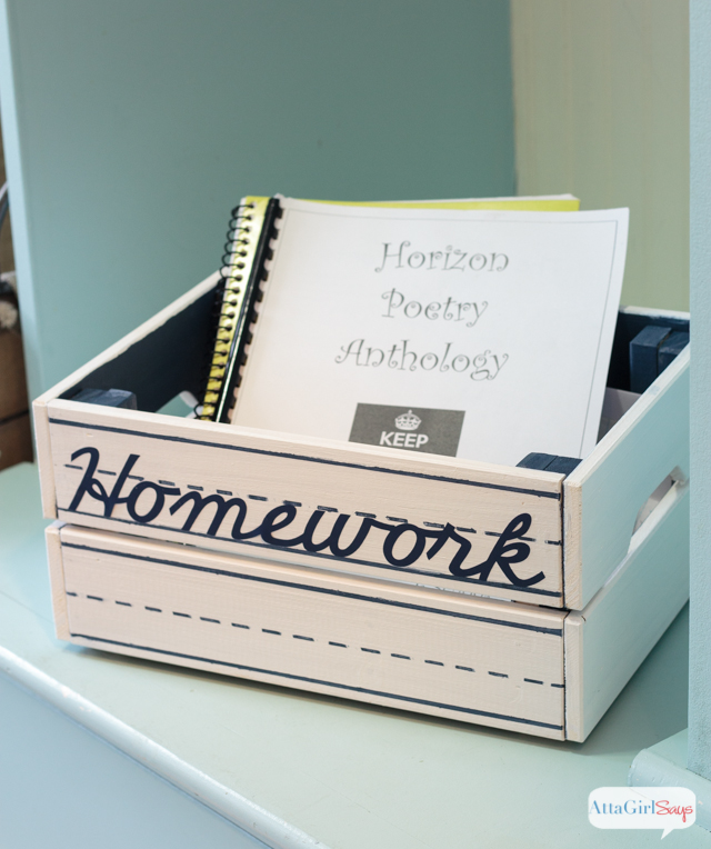 Organize homework and keep track of important school papers with this hand-painted storage crate.