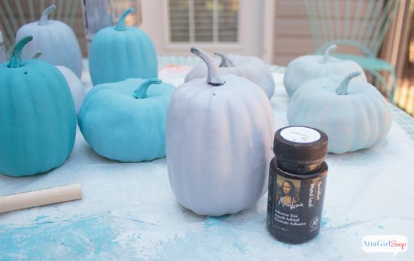 Love these pumpkin decorating ideas. Use chalk paint and metallic foil to transform plain foam pumpkins into glitzy fall decor.