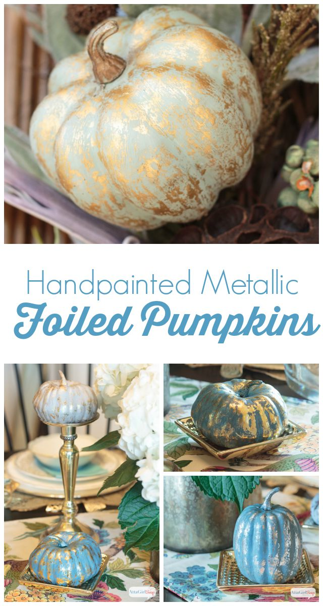 Give inexpensive foam pumpkins a glitzy makeover with paint and metallic foil.