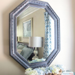 Learn how to easily create the look of denim with this easy faux furniture painting technique using two different colors of Chalky Finish paint and wax. #sponsored #decoartprojects