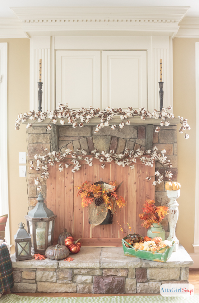 Fall Fireplace Mantel Decorating Ideas Atta Girl Says