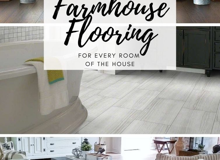 collage with farmhouse flooring in entryway, living room and bathroom