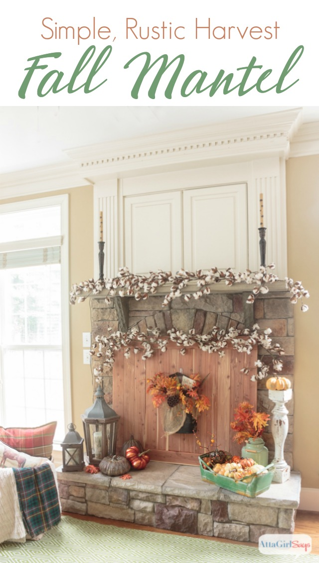 These Fall Fireplace Mantel Decorating Ideas Combine Cedar Wood, Cotton  Bolls, Pumpkins, Lanterns