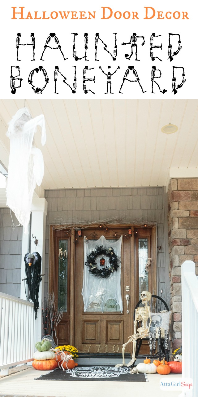 Do you dare venture into our haunted Halloween boneyard? You'll love all the skeletons and other macabre elements used in these spooky Halloween door decorations. You can find all the supplies to recreate the look at Cost Plus World Market. #sponsored #worldmarkettribe