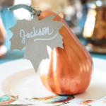 Turn Dollar Tree gourds in gorgeous Thanksgiving place cards with metallic paint. Copper looks great with traditional fall colors. #sponsored #decoartprojects