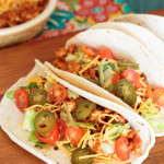 soft tacos with ground chicken, jalapenos and toppings
