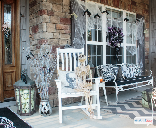 Scare the socks off your neighbors and trick or treaters with these creative Halloween porch decorations. Many of the spooky touches are DIYed or from the dollar store.