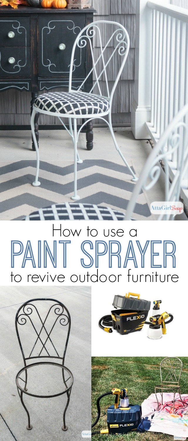 Painting chairs can be such a time consuming pain. That's why I'm sharing this tutorial for how to use a paint sprayer to paint chains and other detailed, scrolled and spindly furniture. I used my Wagner Flexio 890 Sprayer to quickly revive these iron outdoor bistro chairs. I was able to use durable outdoor paint in the sprayer with absolutely no issues. And cleanup with quick and easy. #sponsored
