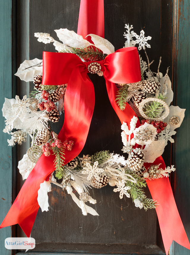 Jeweled Christmas Wreath Made With Vintage Jewelry Atta
