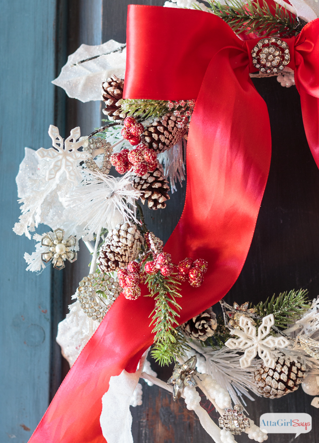 DIY Jeweled Christmas Wreath, shared by Atta Girl Says at The Chicken Chick's Clever Chicks Blog Hop