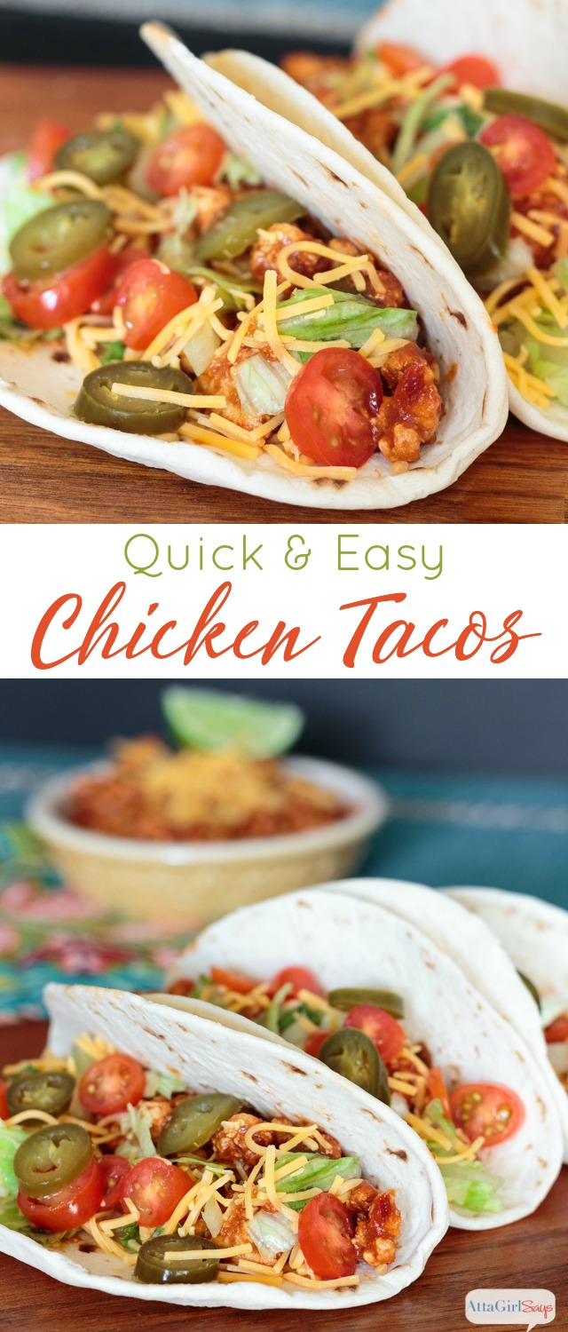 Taco night meets Manwich thanks to this tangy, quick and easy chicken taco recipe that is ready in less than 15 minutes. #ad #ManwichTonight