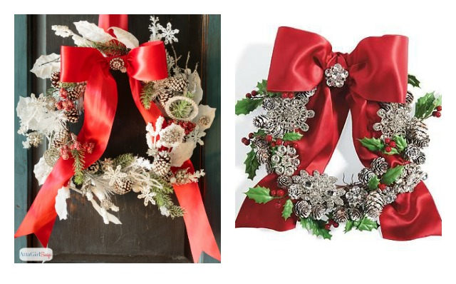 Save money by making a knockoff version of this pricey Grandin Road jeweled Christmas wreath using craft store florals, snowy pinecones and vintage rhinestone jewelry and buttons.
