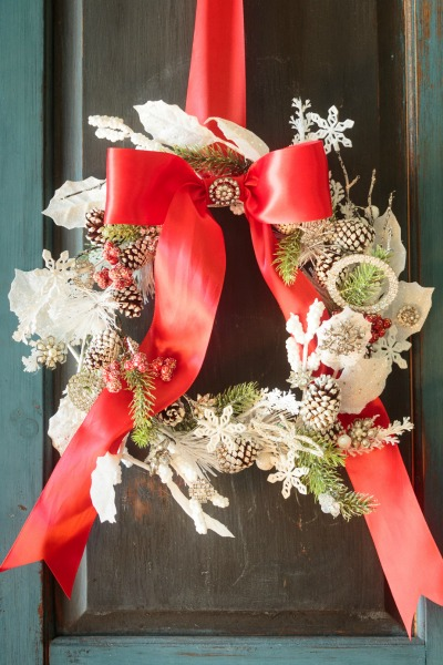 Jeweled Christmas Wreath Made with Vintage Jewelry