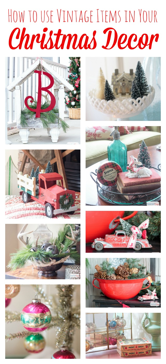You don't have to buy all new decorations to have a beautifully decorated home at Christmas. Scour yard sales, barn sales and antique stores year round to find vintage decor to use at Christmas.