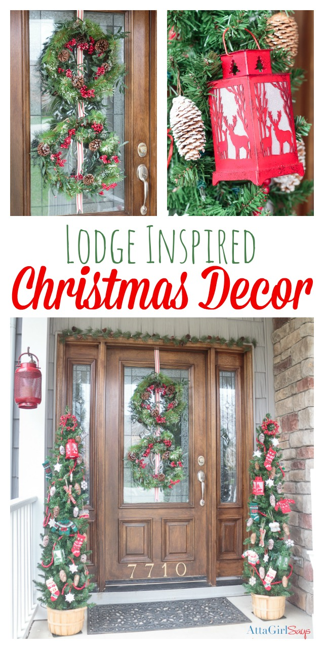 Dress up your home for the holidays with these gorgeous lodge-inspired Christmas door decorations from World Market. #ad #worldmarkettribe