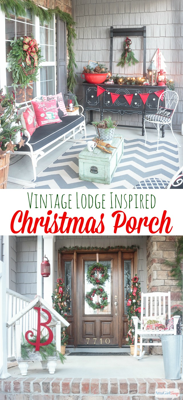 join me for virtual tours of eight bloggers stunning porches decorated for the holidays you - Front Porch Christmas Decorations Ideas