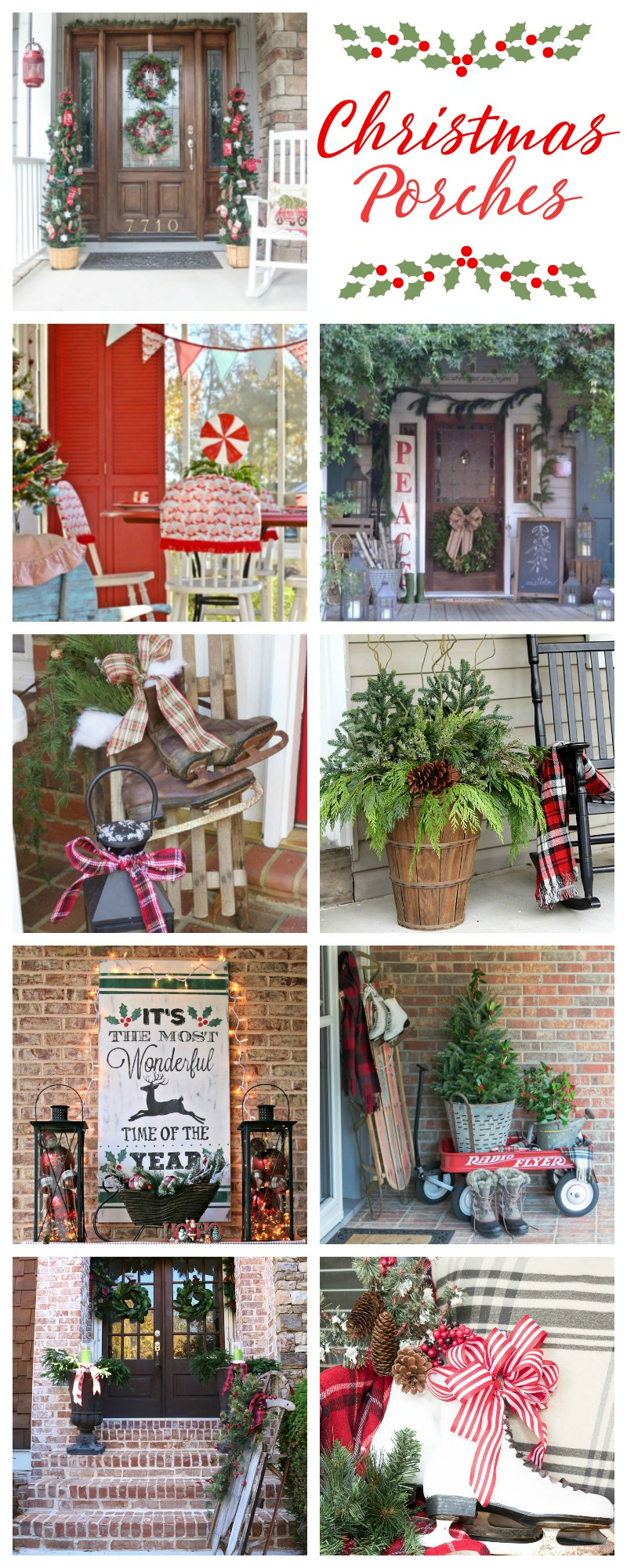 Join 8 bloggers as we showcase our Christmas porches. From farmhouse to French country to vintage to lodge style, you're sure to find something to inspire you.